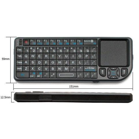 Wireless Ultra Mini Keyboard with Touchpad Black
