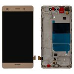 LCD compatible with Huawei P8 Lite (ALE L21), (golden, with touchscreen, with front panel, Logo Huawei, Original (PRC))