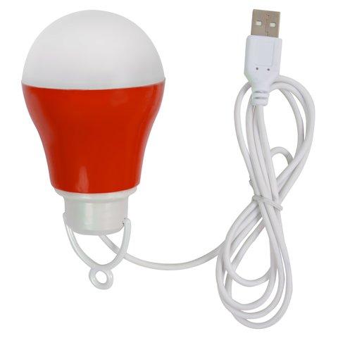 USB LED світильник 5 Вт холодний білий, корпус червоний, 5 В, 450 лм